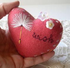 ༺༺༺♥Elles♥Heart♥Loves♥༺༺༺ .............♥Pincushions♥............. #Pincushion #Pin #Cushion #Design #Sewing #Notions #Needle #Handmade #Vintage #Craft #Tutorial #Pattern ~ ♥Make A Wish Wool Heart Pincushion