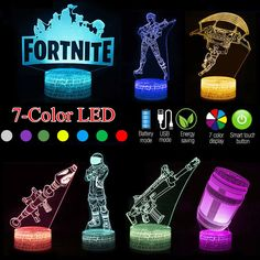US F ORTNITE 3D LED Night Light 7Color USB Touch Table Desk Lamp Kids Gift  Game