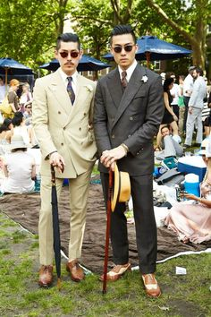 Possibly the only deployment of the double breasted suit that I like (Min Hur and Kevin Wang, HVRMINN designers, at a Jazz Age-themed lawn party)