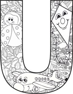 Coloring Letters, Dinosaur Coloring Pages, Alphabet Coloring Pages, Alphabet Art, Alphabet Activities, Colouring Pages, Adult Coloring Pages, Preschool Activities, Coloring Books