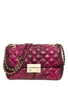 Michael Michael Kors Sloan Large Chain Python Shoulder Bag