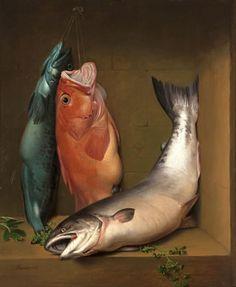 "Samuel Marsden Brookes, ""Still llife with ling cod,  red vermillion and salmon"", oil"
