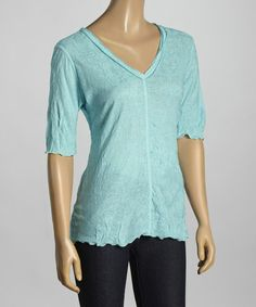 Look what I found on #zulily! Sea Breeze Textured V-Neck Top - Women by Sno Skins #zulilyfinds