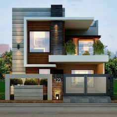 Modern home design 2 Storey House Design, Simple House Design, Bungalow House Design, House Front Design, Minimalist House Design, Tiny House Design, Cool House Designs, Modern House Design, House Exterior Design