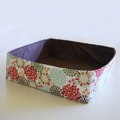 Modern Cat Bed with red, green, blue, brown floral and brown polka dot fabric, Large