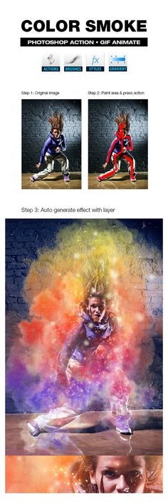 Color Smoke - #Actions #Photoshop Download here: https://graphicriver.net/item/color-smoke/19555658?ref=alena994