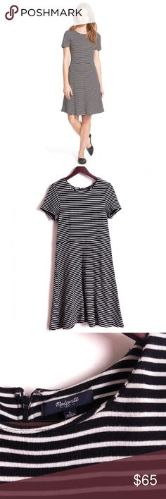 Madewell Dress Madewell Dress. Flare Style. Material Viscose/Poly. Black and White Stripe Pattern. Great Quality. Great Preowned Condition 🚫No Trades🚫 Due to lighting, the items color is slightly different from photos. Please feel free to ask any questions! Be sure to check out my bundle discount as well. Madewell Dresses Midi