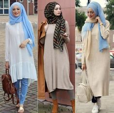 Mixing and matching knitted hijabi dresses  – Just Trendy Girls
