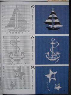 Sail boat and anchor fair isle pattern Filet Crochet, Crochet Motifs, Crochet Cross, Crochet Chart, Knitting Charts, Knitting Stitches, Knitting Patterns, Crochet Patterns, Knitting For Kids