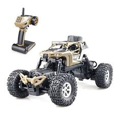 ﹩46.89. 1/18 Off Road Rock Crawler 2.4G Remote Control RC Car Vehicles LED Truck Gift   Type - Crawler, Scale - 1/18, Fuel Type - Electric, Required Assembly - Ready to Go/RTR/RTF (All included), Color - Brown, Characteristics - Remote Control, Recommended Surface - Off-Road, Material - ABS/PVC, Vehicle Type - RC Cars, Sub-Type - High-speed off-road dune car, Power Source - Electric, Speed - 20Km/h, UPC - Does not apply, 4WD/2WD - 4WD