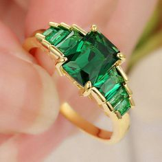 USA Seller Ladies/ Girls 18KT Yellow Gold Filled With Green LC Gems Ring Size 6 Retail $470.00 . Starting at $1