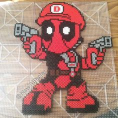 Mariopool (Deadpool mashup) perler beads by newtoperler.....<3 omg I love this lol