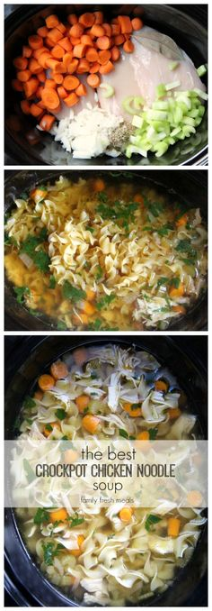Crockpot chicken noodle soup. ***winner!!  I added 1c extra broth because I had it. Good thing as there was no broth really. I added the whole bag of egg noodles and extra veggies. Also didn't need near as long of a cook time. JL