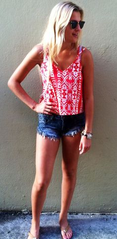 Red Geometric Summer Top