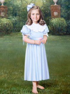 Gorgeous girl in her Mela Wilson Heirloom dress. Oil Portrait by A.Leon Loard