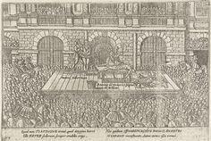 Anonymous | Executie van Ant. Timmerman en A. de Venero, medestanders van Jean de Jauregui, 1582, Anonymous, 1613 - 1615 | Executie te Antwerpen op een schavot ten overstaan van een grote menigte van Antonie Timmerman en Antonio de Venero, een Spanjaard afkomstig uit Bilbao, medestanders van Jean de Jauregui, 1582. Met onderschrift van 4 regels in het Latijn. Genummerd 137. Bedrukt op achterzijde met tekst in het Latijn.