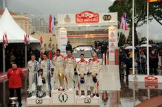 (L - R) Julien Ingrassia of France and Sebastien Ogier of France (second place), Daniel Elena of Monaco and Sebastien Loeb of France (first place) and Daniel Sordo of Spain and Carlos Del Barrio of Spain (third place) celebrate their positions at final ramp during day five of the WRC Monte-Carlo rally on January 20 , 2013 in Montecarlo , Monaco.