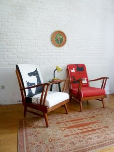 LUCKY HORSE YEAR - RED & WHITE lounge chairs in Jakarta Vintage exclusive designed fabrics. Rp 4,980,000/each. www.jakartavintage.co/shop