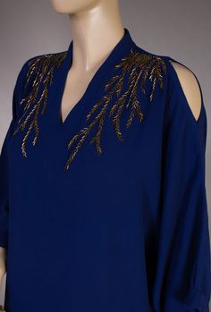 Buy vy Blue Navy Asymmetrical Linen Kurta with Beads and Sequins Women Kurtas A Touch of Elegance pants bead work embroidery Embroidery Online, Embroidery On Kurtis, Hand Embroidery Dress, Kurti Embroidery Design, Bead Embroidery Patterns, Couture Embroidery, Embroidery Fashion, Dress Neck Designs, Kurti Neck Designs