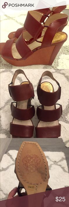 Vince Camuto brown tan wedge sandals. Vince Camuto wedge sandals. Brown + tan combination. Worn once. Size 6.5. Vince Camuto Shoes Wedges