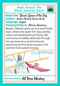 Bessie, Queen of the Sky, great new picture book about Bessie Coleman, the first black female pilot.