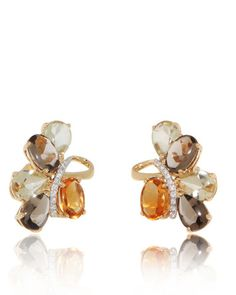 Unique, Fancy design Earring, smoky Quartz, lemon Quartz, Citrine and Diamond