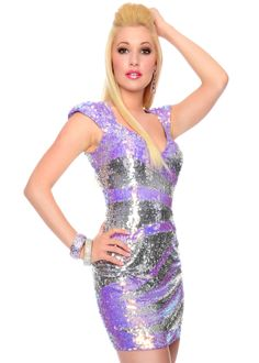 Precious Formals P9013 - Lilac/Silver Illusion Sequin Short Prom Dresses Online
