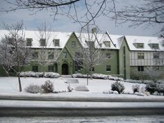 """The beautiful University of Arkansas Tri Delta house in the winter! """"Take me down to Razorback city where the house is green and the girls are pretty!"""""""