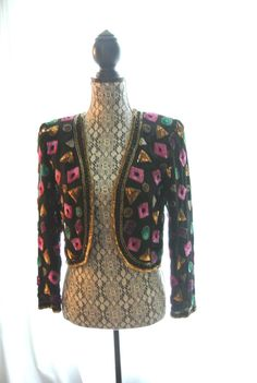 Vintage 80's beaded jacket retro cropped top by TrueRebelClothing, $45.00