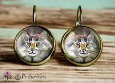 Cats Earrings Glass Cabochon Earrings Dangle Cat by Pinturicon