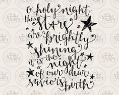O Holy Night • Vector • Handwritten Silhouette Christmas Calligraphy SVG Cutting File • pdf • png • Download • DIY Sign • Holiday Overlay