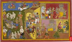 Mewar Ramayana, Add. MS 15297(1) f. 34r, British Library, Indrajit, Ravana's son and a great magician, has made himself invisible and has pierced Rama and Laksmana with his magic weapons. Sahib Din suggests his invisibility by having him appear over the horizon (top left). ...