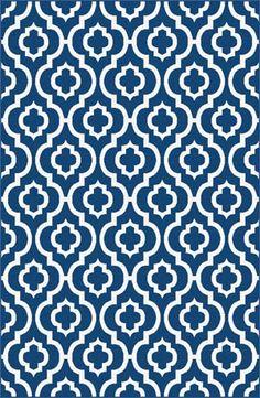 I love this new rug! #whiteandblue #nautical #Moroccan #print #geometric