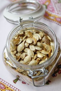 pumpkin seeds with coconut oil. #food #recipe