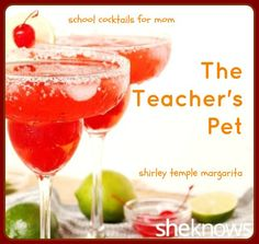 Nothing says teacher's pet quite like a #ShirleyTemple — but this bad little #margarita packs a shot of tequila too. #cocktail #recipe