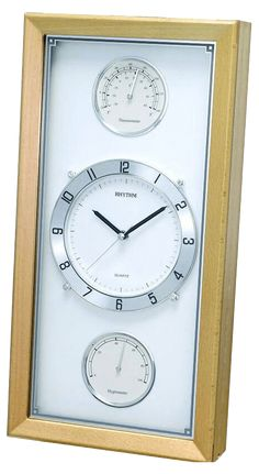 Wooden Rhythm Wallclock incl Hygrometer Thermometer from Time Centre. Clock Movements, Wall Clocks, 1 Year, Minerals, Quartz, Glass, Color, Chiming Wall Clocks, Drinkware