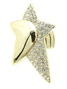 Ring Pave Crystal Stone Metal Star Stretch 2 1/3 Inch tall 1 1/3 Inch Wide One Size