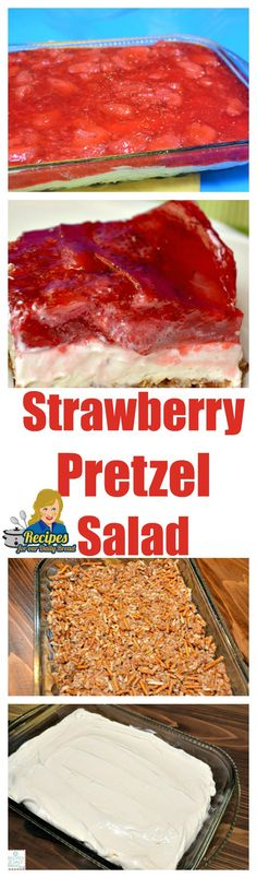 This Strawberry #Pretzel salad, dessert, is amazing! It is layered with…