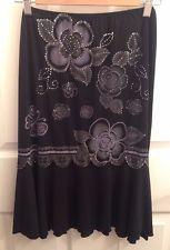 BAZAR Black Floral Print Stretch Skirt