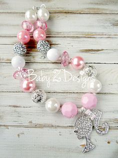Pink White and Clear Barbie Inspired Chunky Necklace by babyzdesigns