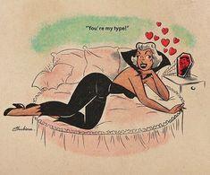 Valentine's Pinup Art Prints by SvetaShubinaGallery x / x / x x / x / x Pop Art Vintage, Retro Art, Halloween Pin Up, Vintage Halloween, Dibujos Pin Up, Pinup Art, Art Graphique, Kawaii, Vintage Comics