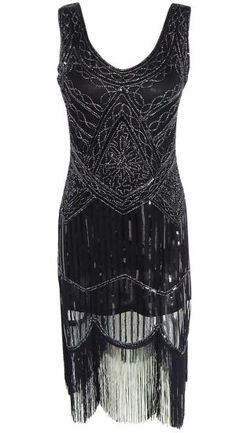 S-XL 1920s Sequin Beaded Tassels Hem Flapper Dress Sleeveless Black Silver  Thread Embroidery Fringe Great Gatsby Party Dress HOLIDAY 3e6678d1c9ff