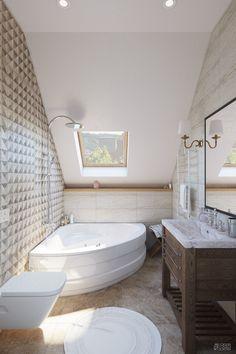 Современный дизайн частного дома 114 метров   Студия LESH (ванная комната на мансарде, современный стиль)