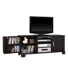 60'' Black Wood TV Stand with Media Storage available from Walmart Canada. Shop and save Furniture at everyday low prices at Walmart.ca