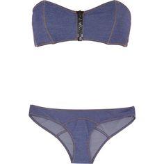 Lisa Marie Fernandez Lauren stretch-denim bandeau bikini ($375) ❤ liked on  Polyvore
