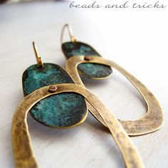 NuGold earrings with blue patina   Handmade by Beads and Tricks