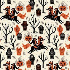 Love the headless horseman! Halloween Prints, Halloween Patterns, Halloween Pictures, Holidays Halloween, Spooky Halloween, Vintage Halloween, Halloween Fabric, Beistle Halloween, Halloween Illustration