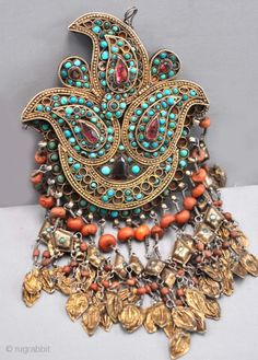 Gilt silver and turquoise central Asian Uzbek headdress ornament from Khorezm  | ca. late 19th century | Price on request