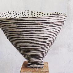 """Paper thin paperclay#brendaholzke #contemporaryceramics #stoneware #tribalinfluence #highfirenoglaze"""