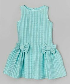 Loving this ValMax Aqua Check Bow Dress - Girls onGirls Lace Dress - Free WorldWide Shipping Gender: Girls Dresses Length: Knee-Length Silhouette: A-Line Collar: O-neck Sleeve Length: Half Decoration: Bow PattI want the pattern Frocks For Girls, Kids Frocks, Dresses Kids Girl, Kids Outfits, Girls Frock Design, Baby Dress Design, Frock Patterns, Baby Girl Dress Patterns, Baby Frocks Designs
